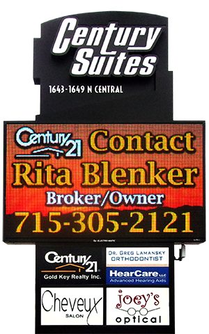 Century Suites outdoor LED sign