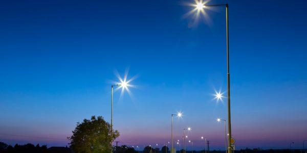LED lights above road