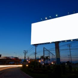 Billboard at night with LED lighting